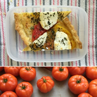 Tomato tart with homemade crust, heirloom tomatoes, goat cheese and thyme